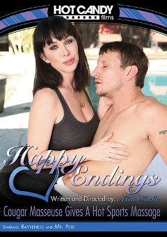 "Adult entertainment movie ""Happy Endings: Cougar Masseuse Gives A Hot Sports Massage"" starring Rayveness & Mr. Pete. Produced by Hot Candy Films."