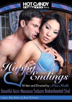 "Adult entertainment movie ""Happy Endings: Beautiful Asian Masseuse Seduces Brokenhearted Stud"" starring Asa Akira & Alan Stafford. Produced by Hot Candy Films."