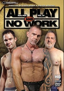 Real Men 24: All Play And No Work, starring Jack Hartford, Blade Hunter, Cameron Kincade, Jim Scott, Dick Ryan, Luciano and Jay Taylor, produced by Pantheon Productions.