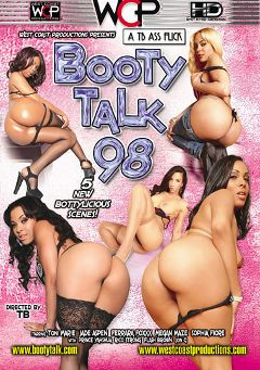 "Adult entertainment movie ""Booty Talk 98"" starring Megan Maze, Toni Marie & Jade Aspen. Produced by West Coast Productions."