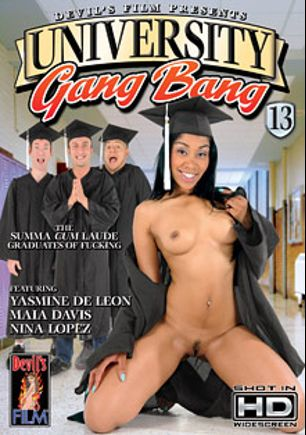 University Gang Bang 13, starring Yasmine de Leon, Nina Lopez, Maia Davis, Jerry Kovacs, Eric Jover, Keni Styles and Jenner, produced by Devil's Film and Devils Film.