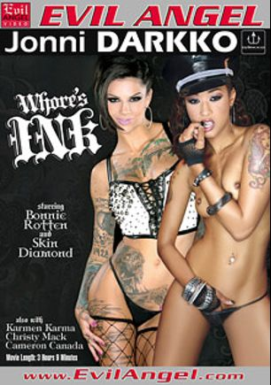Whore's Ink, starring Bonnie Rotten, Skin Diamond, Karmen Karma, Cameron Canada, Xander Corvus, Christy Mack, Bill Bailey, Prince Yahshua, Jordan Ash and Billy Glide, produced by Evil Angel and Darkko Productions.