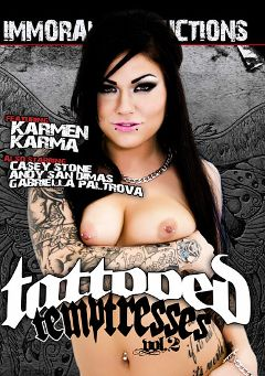 "Adult entertainment movie ""Tattooed Temptresses 2"" starring Karmen Karma, Casey Stone & Gabriella Paltrova. Produced by Immoral Productions."