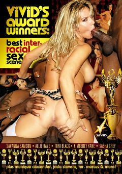 "Adult entertainment movie ""Vivid's Award Winners: Best Interracial Sex Scene"" starring Allie Haze, Jada Stevens & Tori Black. Produced by Vivid Entertainment."