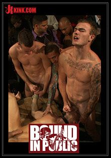 Bound In Public: Adam Knox Gets Caught In A Cum Fest, starring Adam Knox, Cole Streets and Christian Wilde, produced by KinkMen.