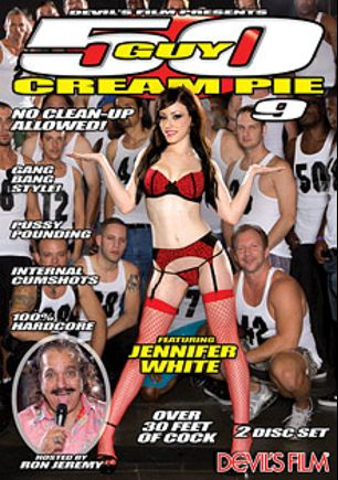 50 Guy Creampie 9, starring Jennifer White, Wolf Hudson and Ron Jeremy, produced by Devil's Film and Devils Film.