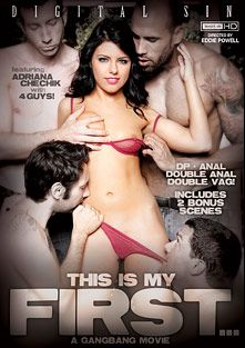 This Is My First... A Gangbang Movie, starring Adriana Chechik, Luna Kitsuen, Carlo Carrera, Jordan Ash, Jon Jon, Tommy Pistol, India Summer, Charlie Mack and Ramon Nomar, produced by Digital Sin.