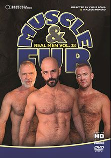 Real Men 28: Muscle And Fur, starring Marco Rios, Bruce Mills, Allen Silver, Ale Tedesco, Mickey Collins, Adam Russo, Jake Marshall and Steve King, produced by Pantheon Productions.