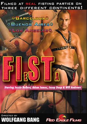 Fiesta, starring Adam James, Will Andrews, Josep Deep, Jessie Balboa, Randy Faust, Tom Cuero, Daro Bello, Franco Kadu, Joe Guy, Ositofan, Raphael Le Grand, Cristian Villasanti, Tom Luis, Pau Kbron, Nick Loader and Tino Valentino, produced by Red Eagle Films.