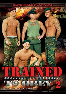Trained To Obey 2, starring Joey Visconti, Jason Visconti, Jimmy Visconti, The Visconti Triplets, Daniel Starr, David Cain, Brent Moon, Akos Piros, Mickey, Tom Taylor, Frenky, Nico Blade and Chris Stone, produced by Elite Male.