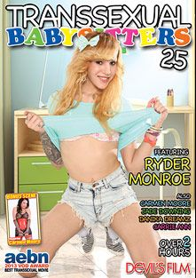 Transsexual Babysitters 25, starring Ryder Monroe, Jade Downing, Danika Dreamz, Carrie Ann and Carmen Moore (o), produced by Devils Film and Devil's Film.