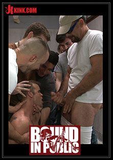 Bound In Public: Straight Stud Gets Gang Fucked In A Crowded Cruising Bathroom, starring Bryan Cole, Connor Patricks and Jessie Colter, produced by KinkMen.