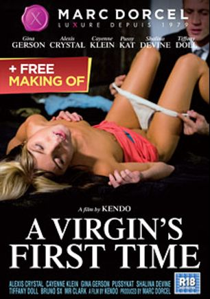 A Virgin's First Time, starring Alexis Crystal, Doris Ivy, Sabbg, Tiffany Doll, Shalina Devine, Cayenne Klein, Mr. Clark, Bruno Sx, PussyCat, Thomas Stone and Csoky Ice, produced by Marc Dorcel SBO and Marc Dorcel.