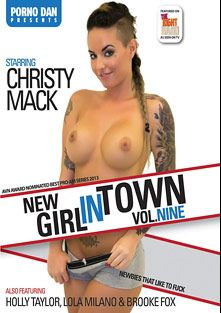 New Girl In Town 9, starring Christy Mack, Brooke Foxxx, Lola Milano, Holly Tyler and Porno Dan, produced by Porno Dan Presents and Immoral Productions.