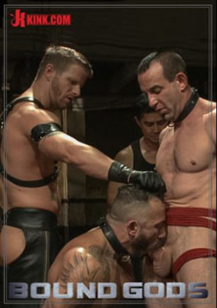 Bound Gods: Turn That Frown Upside Down - Live Shoot, starring Alessio Romero, Jason Miller, Van Darkholme and Jeremy Stevens, produced by KinkMen.