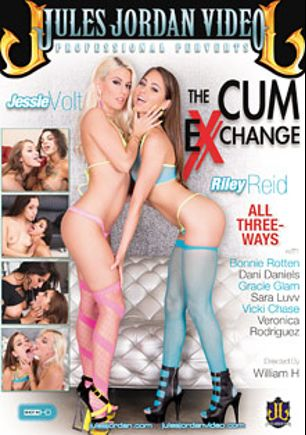 The Cum Exchange, starring Sara Luvv, Bonnie Rotten, Veronica Rodriguez, Dani Daniels, Riley Reid, Jessie Volt, Vicki Chase and Gracie Glam, produced by Jules Jordan Video.