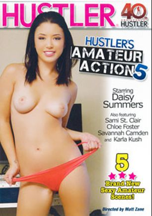 Hustler's Amateur Action 5, starring Daisy Haze, Savannah Camden, Karla Kush, Dragon Man, Sami St. Claire, Ike Diezel, Chloe Foster, Tim Von Swine and Mark Zane, produced by Hustler.
