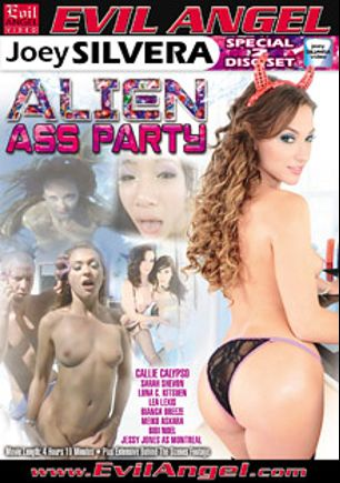 Alien Ass Party Part 2, starring Meiko Askara, Callie Calypso, Bianca Breeze, Sarah Shevon, Luna Kitsuen, Jessy Jones, Bibi Noel, Lea Lush, Mr. Pete and Joey Silvera, produced by Joey Silvera Video and Evil Angel.