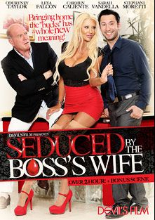 Seduced By The Boss's Wife, starring Carmen Caliente, Abby Cross, Leya Falcon, Presley Hart, Stephanie Moretti, Maestro Claudio, Sarah Vandella, Tommy Pistol, Shane Diesel, Courtney Taylor and Herschel Savage, produced by Devils Film and Devil's Film.