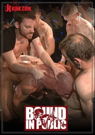 Bound In Public: Muscled Stud Has Had Enough But The Horny Crowd Says No, starring Rob Yaeger, Mitch Vaughn and Jeremy Stevens, produced by KinkMen.