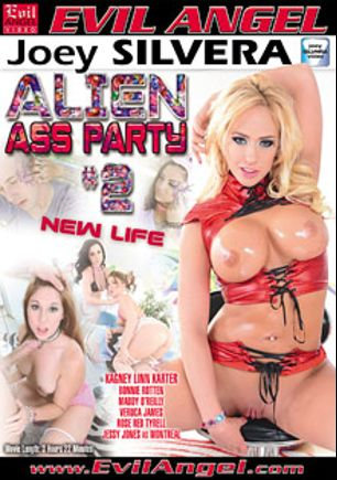 Alien Ass Party 2, starring Veruca James, Bonnie Rotten, Maddy O'Reilly, Kagney Linn Karter, Rose Red, Jessy Jones and Mr. Pete, produced by Joey Silvera Video and Evil Angel.