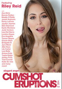 Cumshot Eruptions 2, starring Riley Reid, Natalia Starr, Veronica Radke, Sadie Santana, Kennedy Leigh, Teal Conrad, Cameron Canada, Mia Malkova, Cibelle Mancini, Veruca James, Cindy Starfall, Bonnie Rotten, Lia Lor, Siri, Katt Dylan, Remy LaCroix, Serena Ali, Maddy O'Reilly, Anissa Kate, Sheena Shaw, Anikka Albrite, Presley Hart, Mischa Brooks, Jessie Rogers, Momoko Mitchel, Leilani Leeanne, Jade Nacole, Dahlia Sky, Nikki Delano, Adrianna Luna, Kiara Mia, Dani Daniels, Summer Brielle, Holly Michaels, Gemini Lovell, Tasha Reign, Sheena Ryder, Brooklyn Lee, Jynx Maze, Christy Mack, Lily Carter, Megan Vaughn, Jessie Andrews, Veronica Avluv, Kortney Kane, Alexis Ford, Skin Diamond, Allie Haze, Katie St. Ives, Gracie Glam, Tanya Tate, Liza Del Sierra, Capri Anderson, London Keyes, Tanner Mayes, Juelz Ventura, Aletta Ocean, Bridgette B., Asa Akira, Chastity Lynn, Phoenix Marie, Jada Stevens, Priya Rai, Jayden Jaymes, Lexi Belle, Vanessa Monet, Baby Cakes, Karlie Montana, Eva Angelina, Ashley Fires, Katsuni and Julia Ann, produced by Elegant Angel Productions.