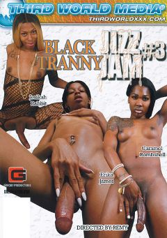 "Adult entertainment movie ""Black Tranny Jizz Jam 3"" starring Jesikah Rabbit, Erika James & Caramel Bombshell. Produced by Grooby Productions."