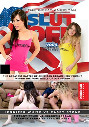 The Great American Slut Off 4, starring Casey Stone, Jennifer White, Karmen Karma, Melody Jordan, Lylith LaVey, Porno Dan and Tiffany Tyler, produced by Porno Dan Presents and Immoral Productions.