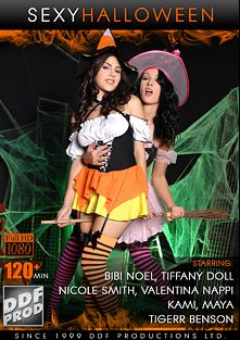 Sexy Halloween, starring Valentina Nappi, Nicole Smith, Kami A., Sandra Fox, Tiffany Doll, Bibi Noel, Tigerr Benson, James Brossman and David Perry, produced by DDF Production Ltd.