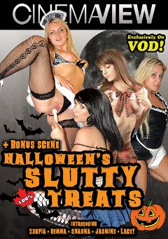 "Adult entertainment movie ""Halloween's Slutty Treats"" starring Gemma, Zsofia & Shauna. Produced by Cinemaview."