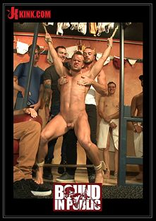 Bound In Public: Bathhouse Whore Tormented And Gang Banged By A Horny Crowd, starring Connor Patricks, Jessie Colter and Christian Wilde, produced by KinkMen.