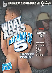 What Asses Are Made Of 5: Booty Work, starring Jody (HDK), Seduction(M), Sexy Red (m), Czar, Kameo, Rio (m) and Bam Bam, produced by Black Rayne Productions.
