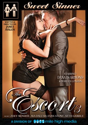 The Escort 3, starring Dana DeArmond, Ava Dalush, Zoey Monroe, Seth Gamble, Marcus London and Evan Stone, produced by Sweet Sinner and Mile High Media.