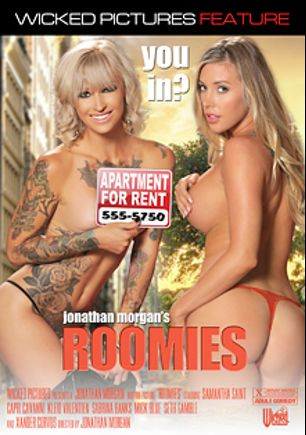 Roomies, starring Samantha Saint, Capri Cavalli, Kleio Valentien, Sabrina Banks, Xander Corvus, Seth Gamble and Mick Blue, produced by Wicked Pictures.