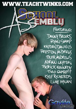 School Assembly, starring Luke Milan, Ryan Sharp, Adrian Layton, Timo Garrett, Danny Brooks, Preston Andrews, Tyler Andrews, Patrick Kennedy, Kayden Daniels and Kyle Richards, produced by PornPlays and GayLifeNetwork.