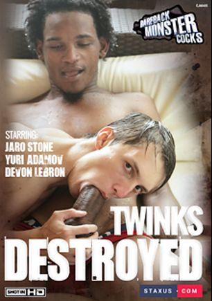 Twinks Destroyed, starring Lloyd Goldwyn, Kurt Maddox, Felipe Esquivel, Tyler Tremallose, Jaro Stone, Yuri Adamov, David Hanson, Devon Lebron and Shane Barrett, produced by Bareback Monster Cocks and Staxus.