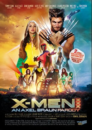 X-Men XXX An Axel Braun Parody, starring Chanel Preston, Skin Diamond, Allie Haze, Katie St. Ives, Andy San Dimas, Jeannie Marie, J. Jay, Tommy Gunn, Alec Knight, Billy Glide and Tom Byron, produced by Vivid XXX Super Heroes and Vivid Entertainment.
