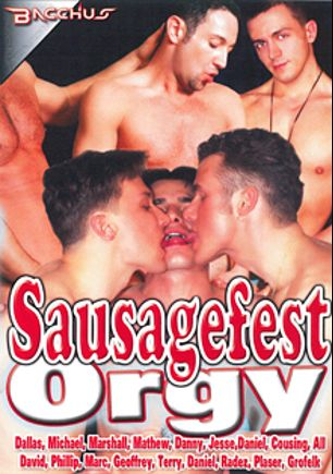 Sausagefest Orgy, starring Mathew, Dallas (II), Marc, Jesse (m), Terry (m), Michael (m), Danny (m), Phillip, David and Marshall, produced by Bacchus.