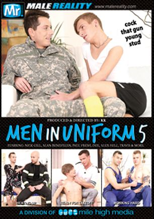 Men In Uniform 5, starring Alan Benfelen, David Sobota, Denny Cock, Justin Anderson, Alex Hell, Paul Fresh, Nick Gill and Johan Volny, produced by Mr. Male Reality and Mile High Media.