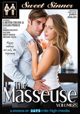 The Masseuse 8, starring Marina Visconti, Carter Cruise, Alli Rae, Brett Ravage, Logan Pierce and Michael Vegas, produced by Sweet Sinner and Mile High Media.