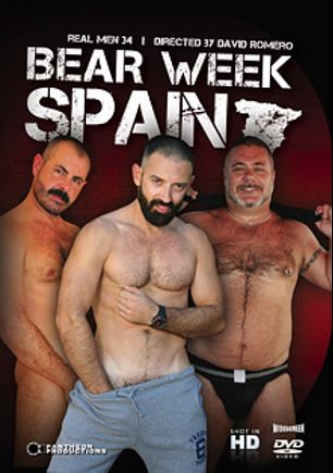 Real Men 34: Bear Week Spain, starring Oceanbear, Arturo Granadino, Jota Salaz, Alik Zanders, Latinfuzz Robert, Rodrigo Toro and Trace Leches, produced by Pantheon Productions.