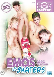 Emos Vs. Skaters, starring Paul Blow, Jack Blue and Pavel Lindr, produced by Bareback Boy Bangers.
