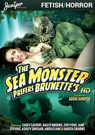 The Sea Monster Prefers Brunettes, starring Casey Calvert, Ashley Sinclair, Dakota Charms, Zoey Foxx, Jada Stevens and Bailey Brooks, produced by Juniper Movies.