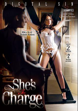 She's In Charge, starring Bonnie Rotten, Riley Reid, Megan Rain, Karmen Karma, Sara Luvv, Dahlia Sky, Chanel Preston and Aiden Starr, produced by Digital Sin.