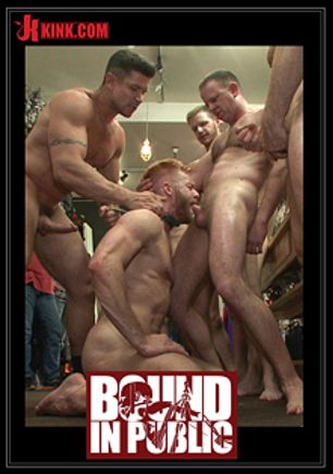 Bound In Public: Muscled Stud Worships Feet And Takes Cock After Cock In Bondage, starring Trenton Ducati, Jessie Colter and Christopher Daniels, produced by KinkMen.