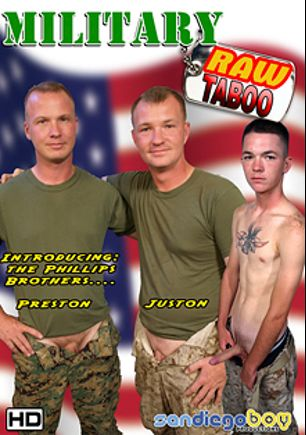 Military Raw Taboo, starring Preston and Juston, produced by San Diego Boy Productions.