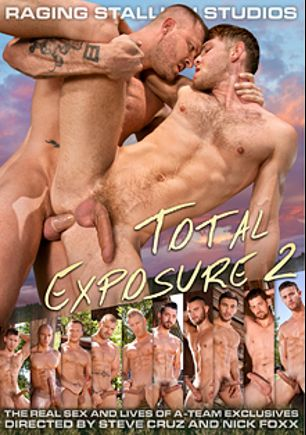 Total Exposure 2, starring Sean Zevran, Jacob Peterson, Dorian Ferro, Sebastian Kross, Johnny V., David Benjamin, Austin Wolf, Boomer Banks, Andrew Stark, Nick Sterling, Chris Bines, Ryan Rose, Brian Bonds and Jimmy Durano, produced by Falcon Studios Group and Raging Stallion Studios.