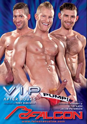 VIP After Hours, starring Kyle Kash, Sebastian Kross, Johnny V., Jimmy Durano, Alex Mecum, Jacob Peterson, Tony DiMarco and Addison Graham, produced by Falcon Studios and Falcon Studios Group.