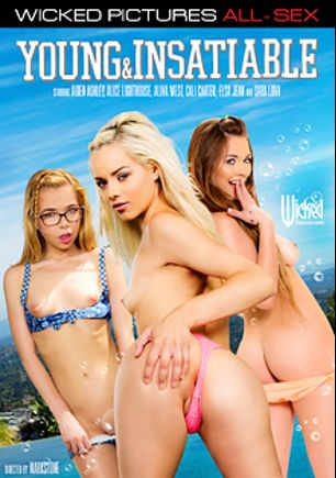 Young And Insatiable, starring Alice Lighthouse, Alina West, Sara Luvv, Elsa Jean, Cali Carter, Richie's Brain, Aiden Ashley, Will Powers, Alec Knight and Marco Banderas, produced by Wicked Pictures.