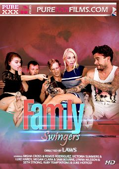 "Adult entertainment movie ""Family Swingers"" starring Ruby Temptations, Megan Clara & Lynna Nilsson (f). Produced by Purexxxfilms."